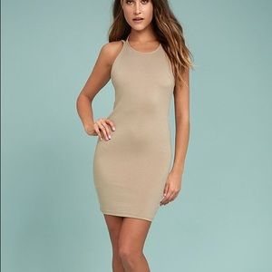 Favorite distraction taupe backless bodycon NWT M